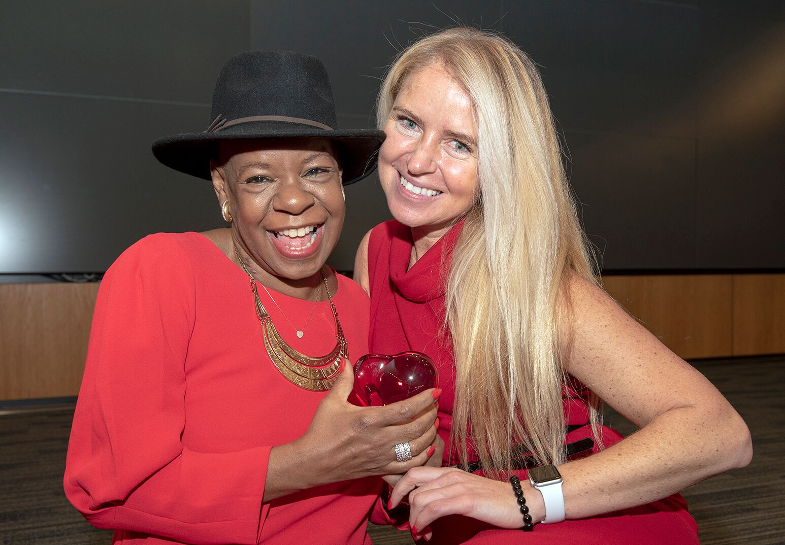 Yvonne Fleming (left) and Dr. Evelina Grayver celebrate during Go Red for Women event