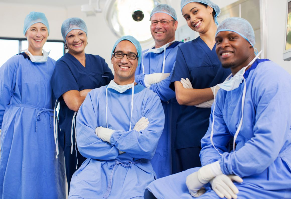 Group of surgeons