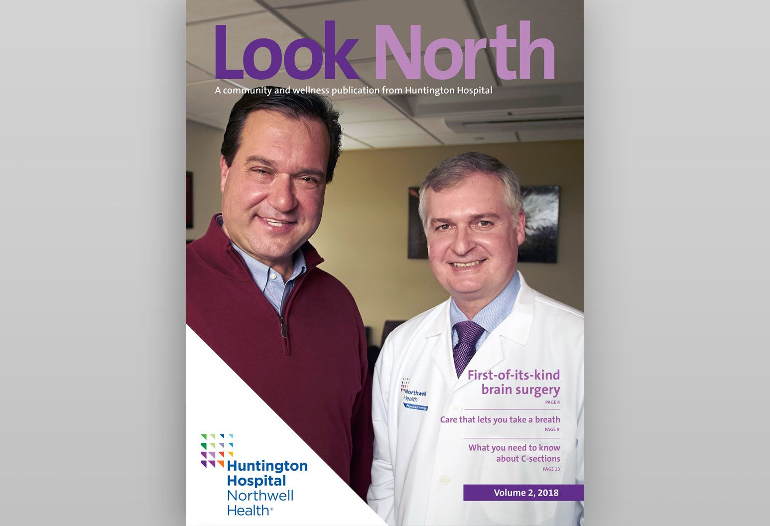 Magazine cover picture of a male doctor and patient smiling looking at the camera