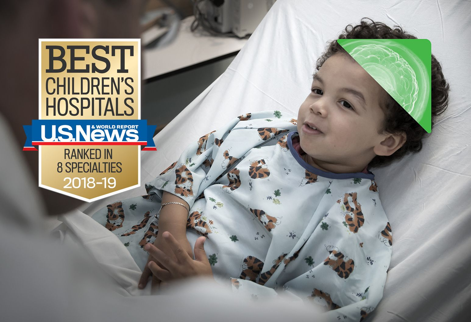 "A brown badge and blue and red ribbon that reads ""Best Children's Hospitals. U.S. News and World Report. Ranked in 8 Specialties. 2018-19"""