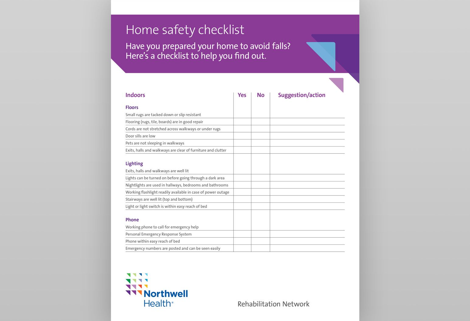 This is the front page of a PDF called Home Safety Checklist. It has a purple design with constellations at the top of the page, and a checklist of things to do to keep your home safe.