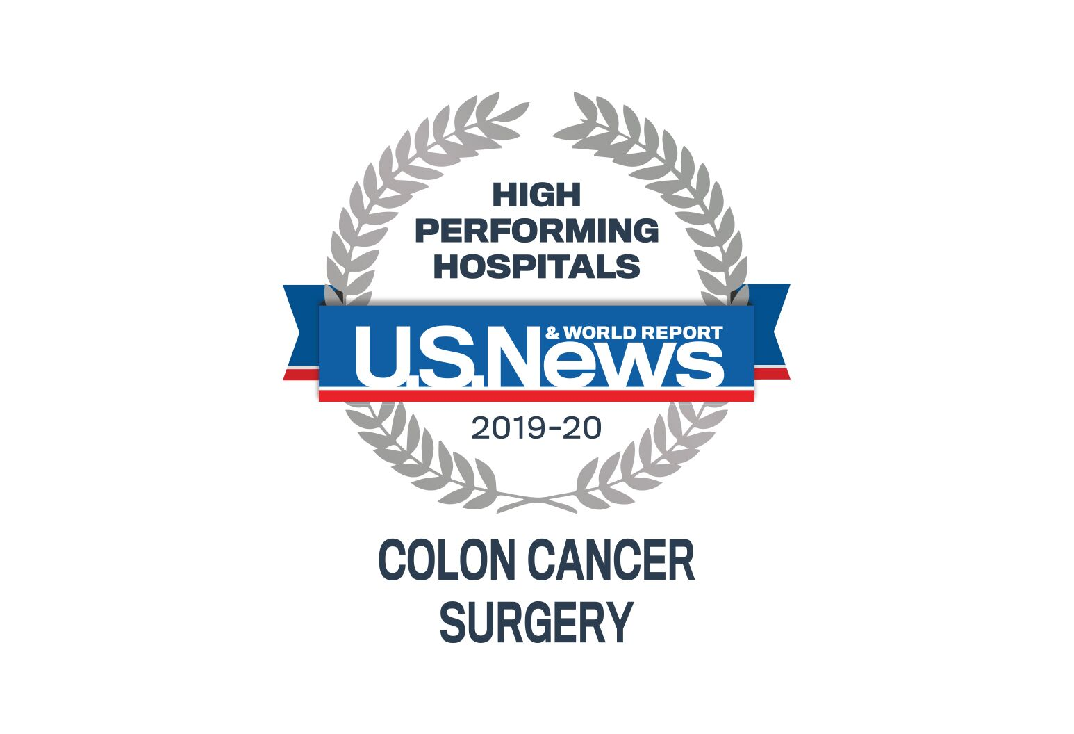 US news badge showing high performance in colon cancer surgery