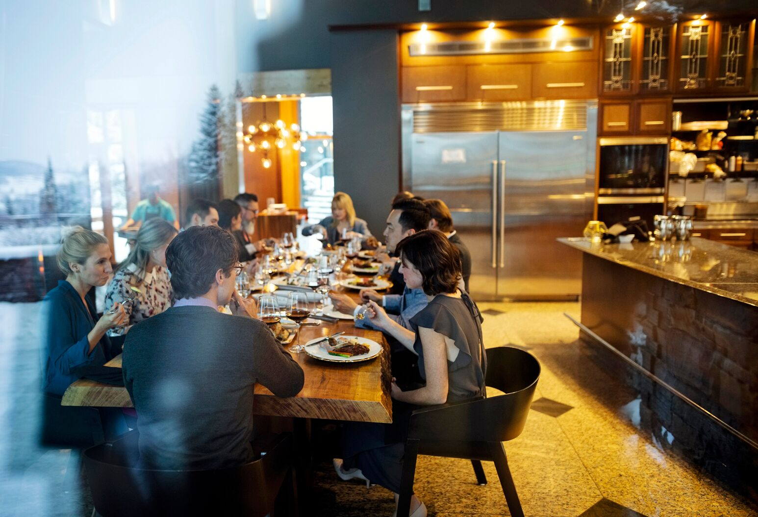 People dine in a restaurant