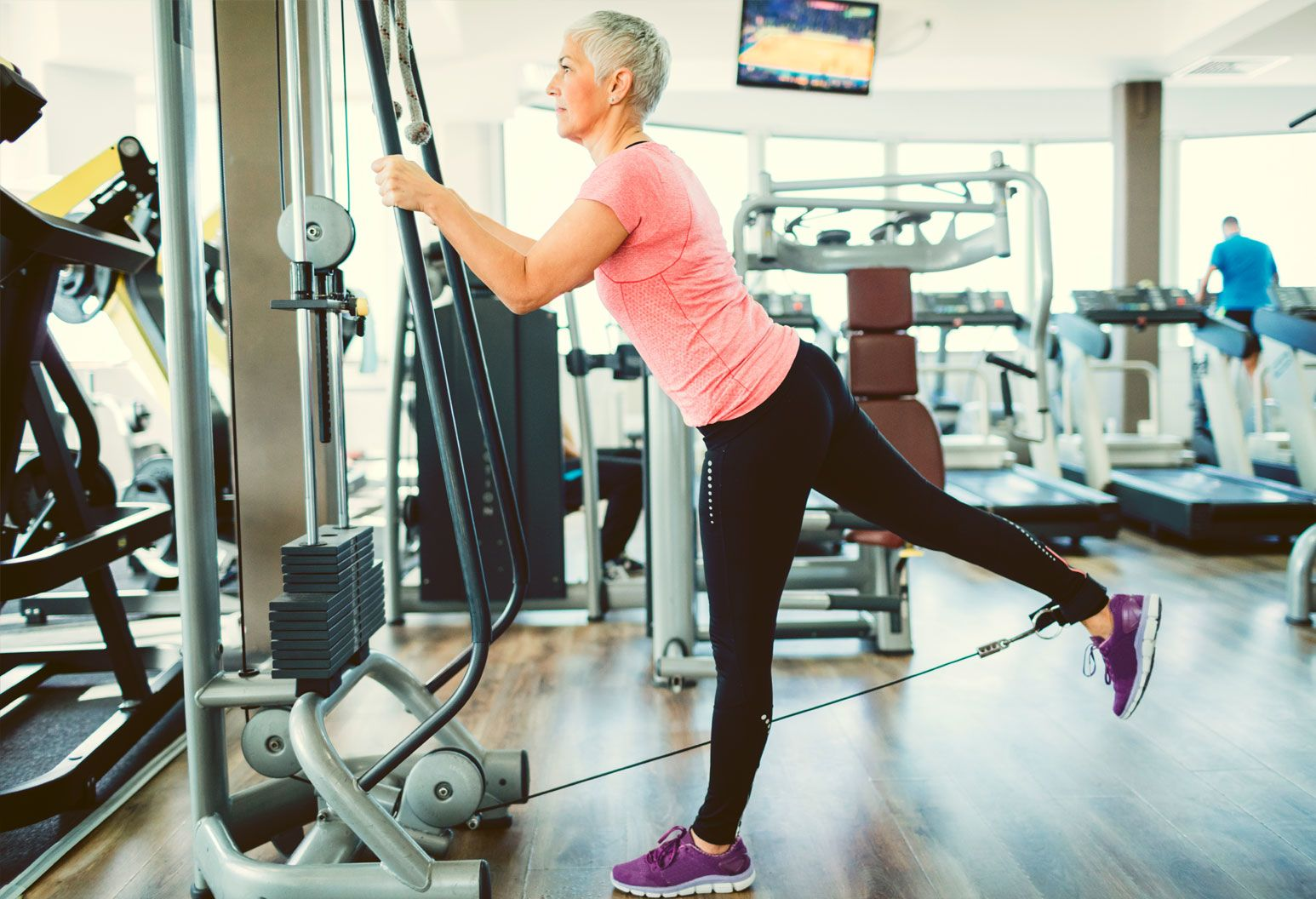 A woman works out her hip