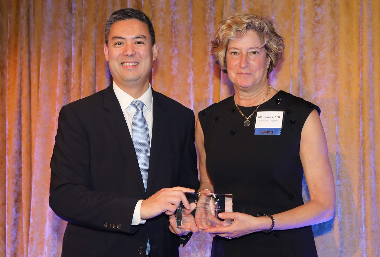 Jill Kalman, MD, executive director of Lenox Hill Hospital, receives the United Hospital Fund award.