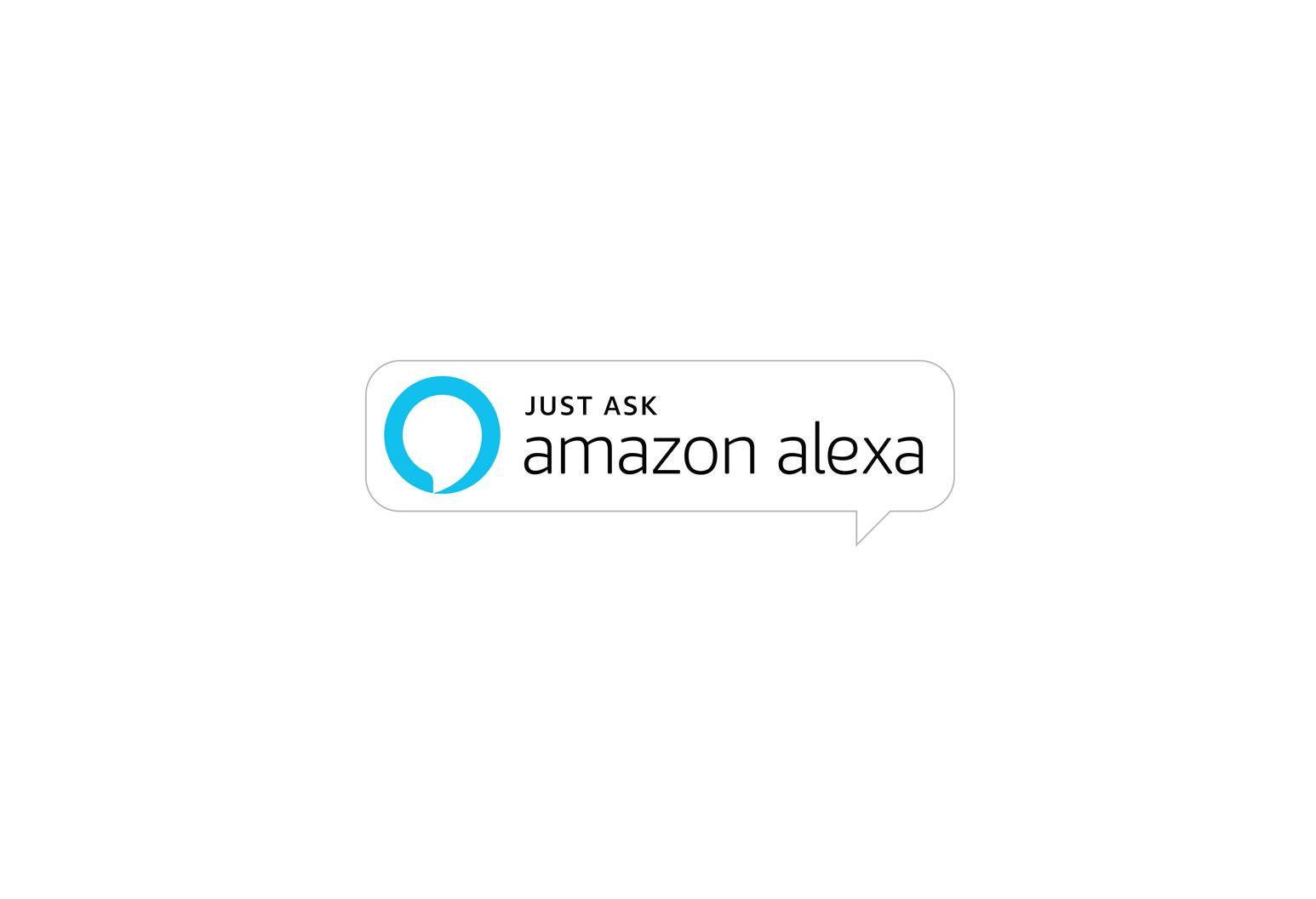 """just ask amazon alexa"" written in speech bubble"