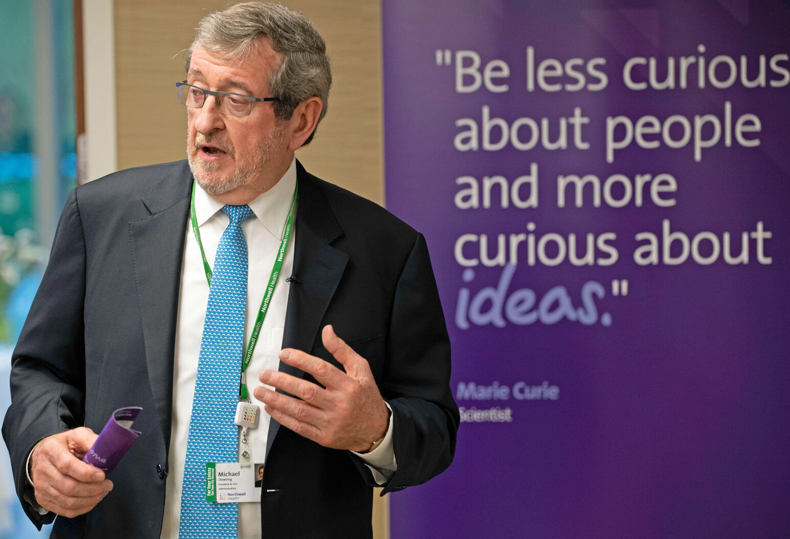 Michael Dowling speaks during the 2019 Innovation Challenge