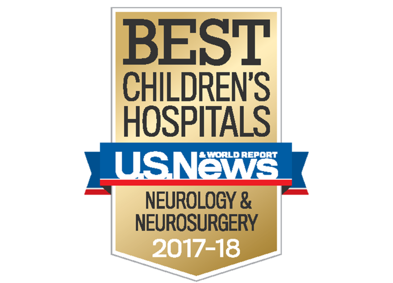 This is an emblem from U.S. New & World Report for best children's hospital for neurology and neurosurgery from 2017-2018.