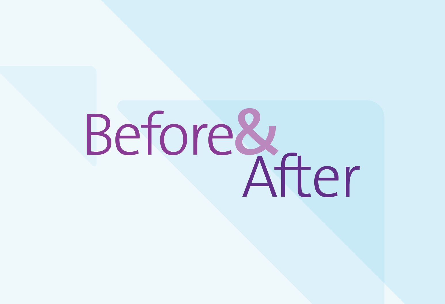 "The words ""Before & After"" are displayed in purple over a blue abstract background."