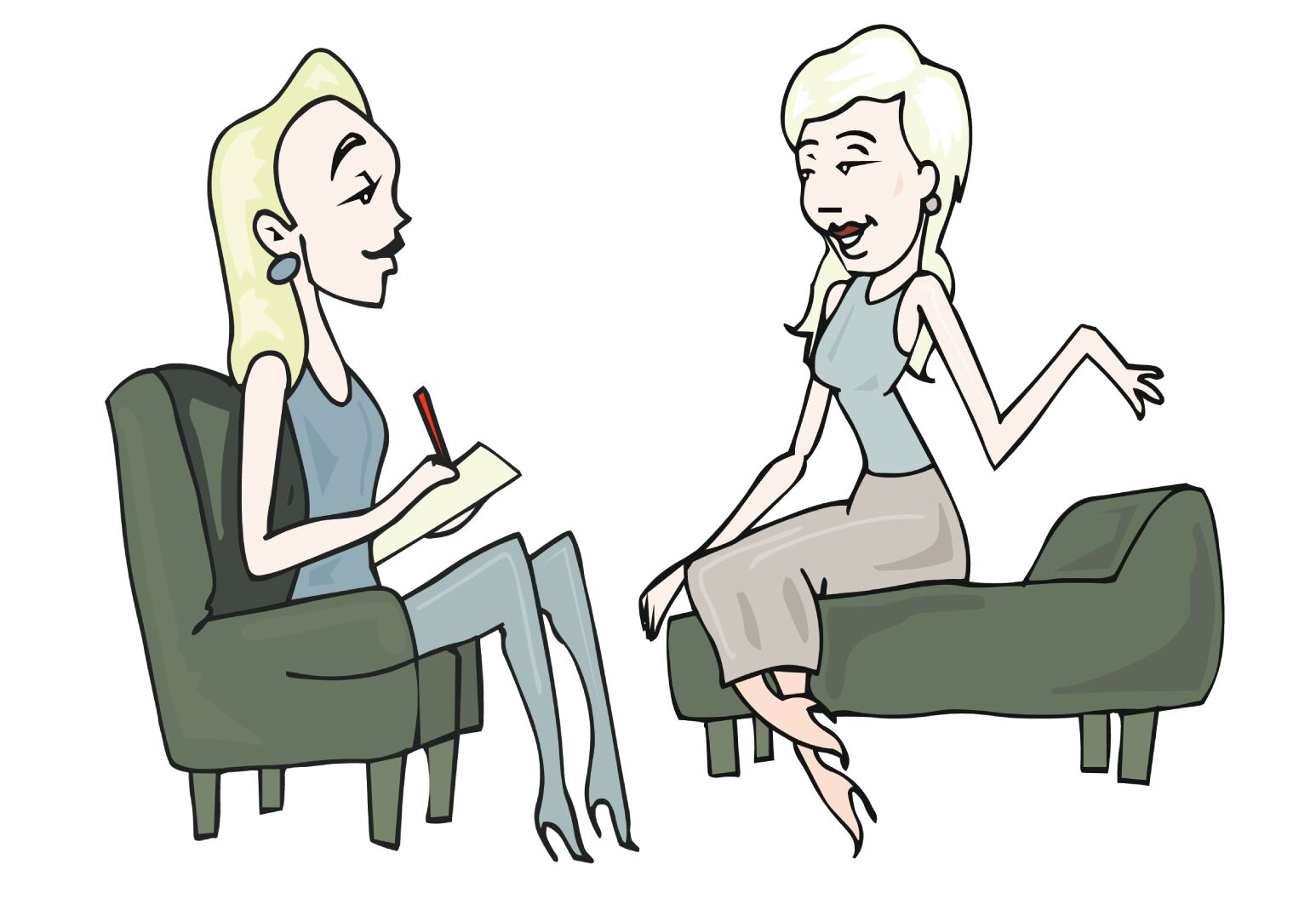 cartoon image of a blonde woman talking to her therapist