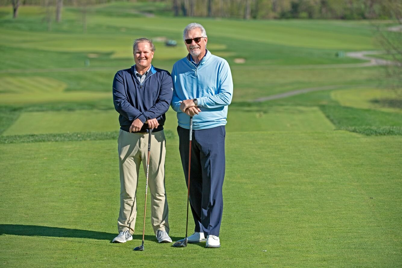 Hockey Hall of Famer Clark Gillies (right) with his orthopedic surgeon (left) on the golf course.