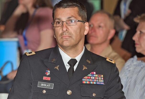 Wearing his US Army uniform, Omar Bholat, MD, attended Northwell's military luncheon in May, where he received a pay differential for his latest deployment.