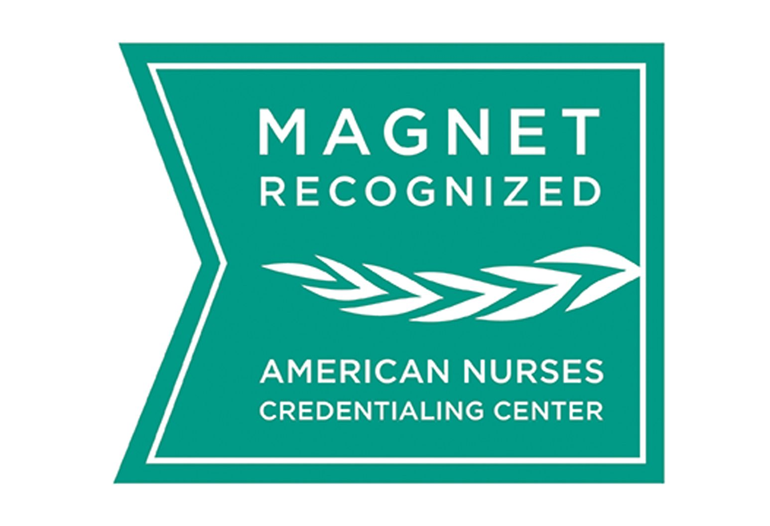 Green and white Magnet Recognized logo American Nurses Credentialing Center