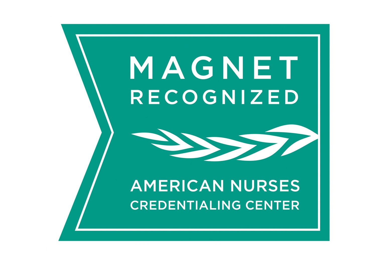 "Logo with a green background and white text that says ""Magnet recognized."" There is a leaf symbol and under that, ""American nurses credentialing center."""