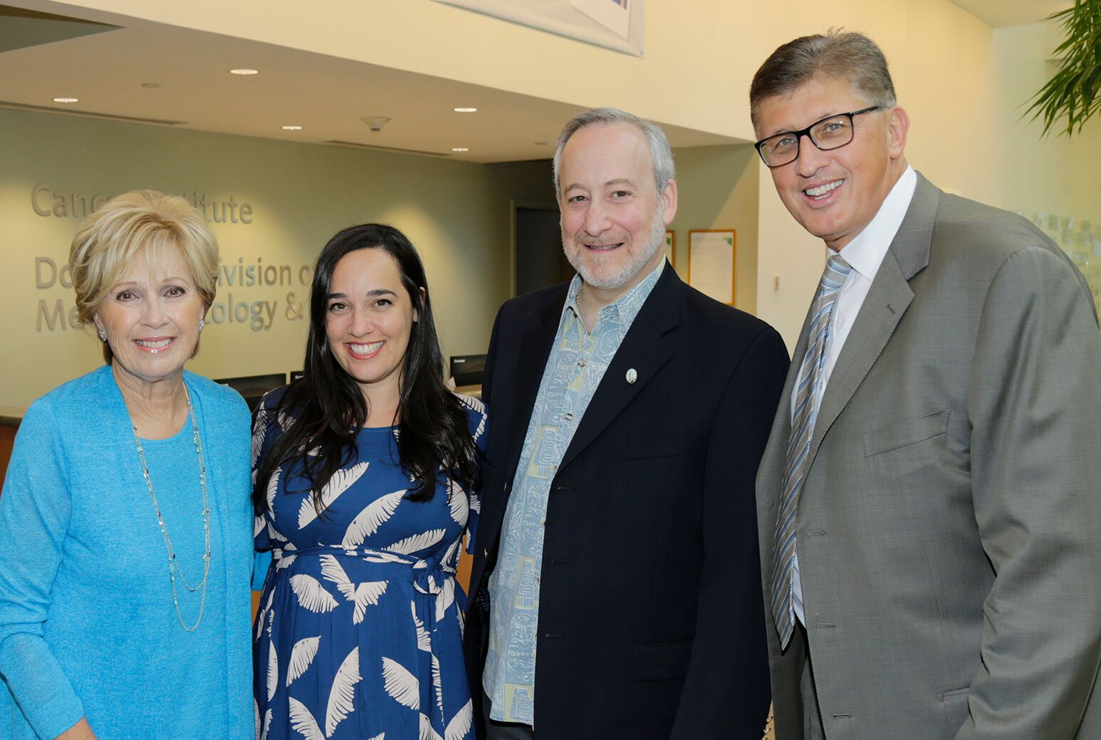 From left: Caroline Monti Saladino, keynote speaker Nancy Borowick, Northwell executive Frank Danza, and Dr. Richard Barakat at Northwell's annual Cancer Survivors' Day celebration.