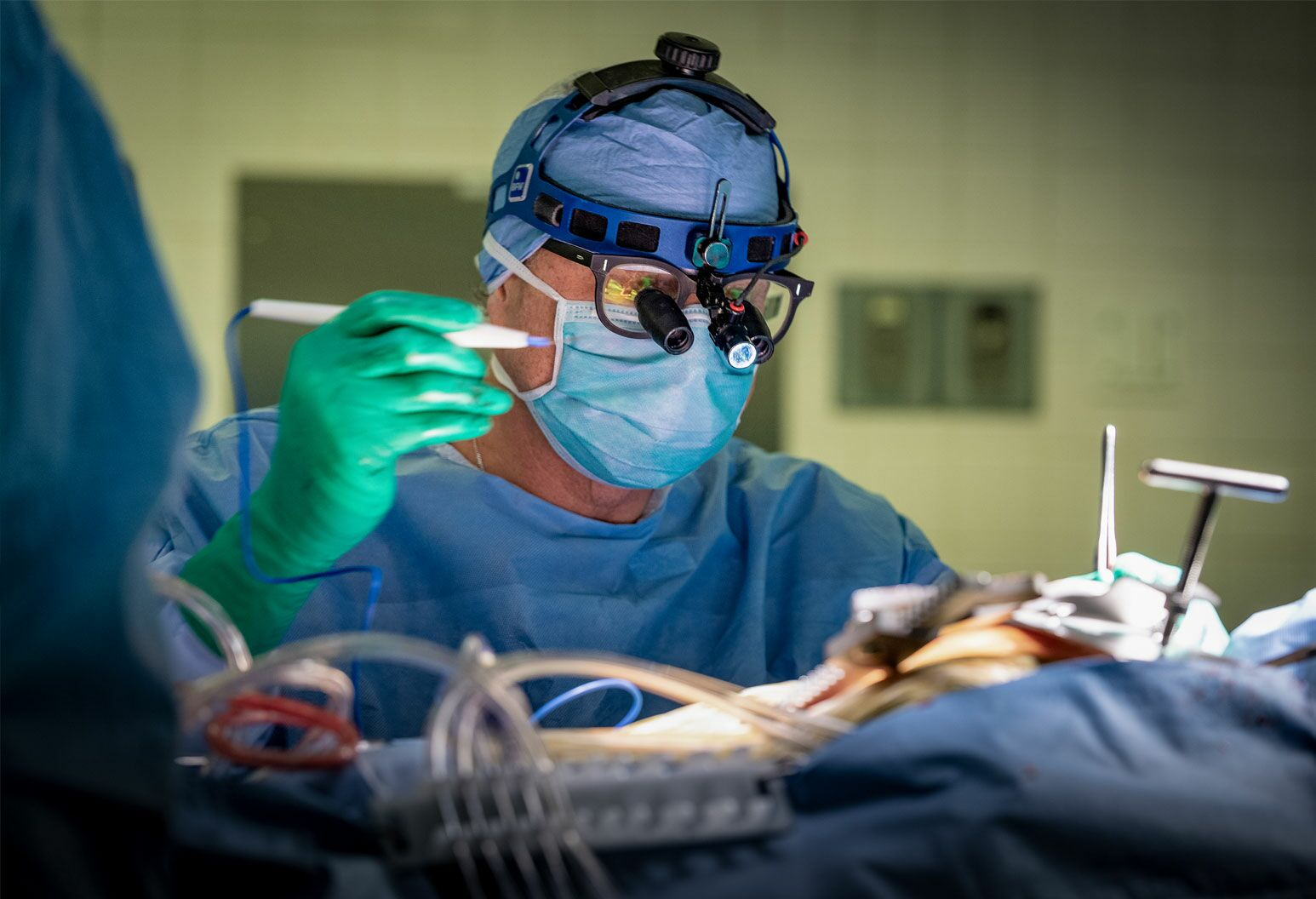Surgeon performing heart surgery.