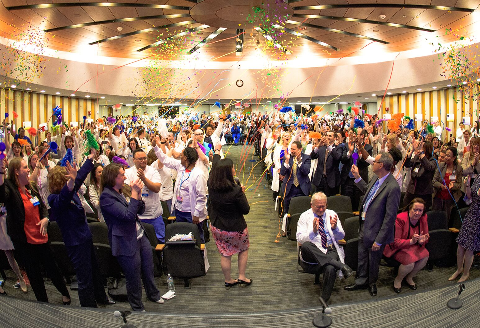 Northwell employees celebrate Magnet status at North Shore University Hospital.