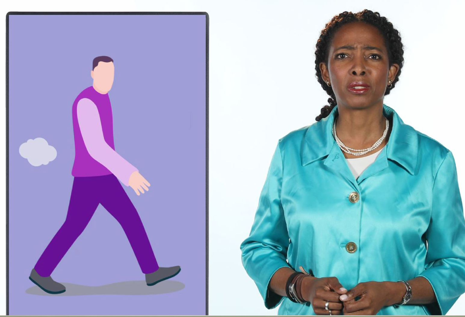 A woman in light blue/green silk coat stands next to an infographic of a man walking and an image of a gas cloud coming out from his buttocks.
