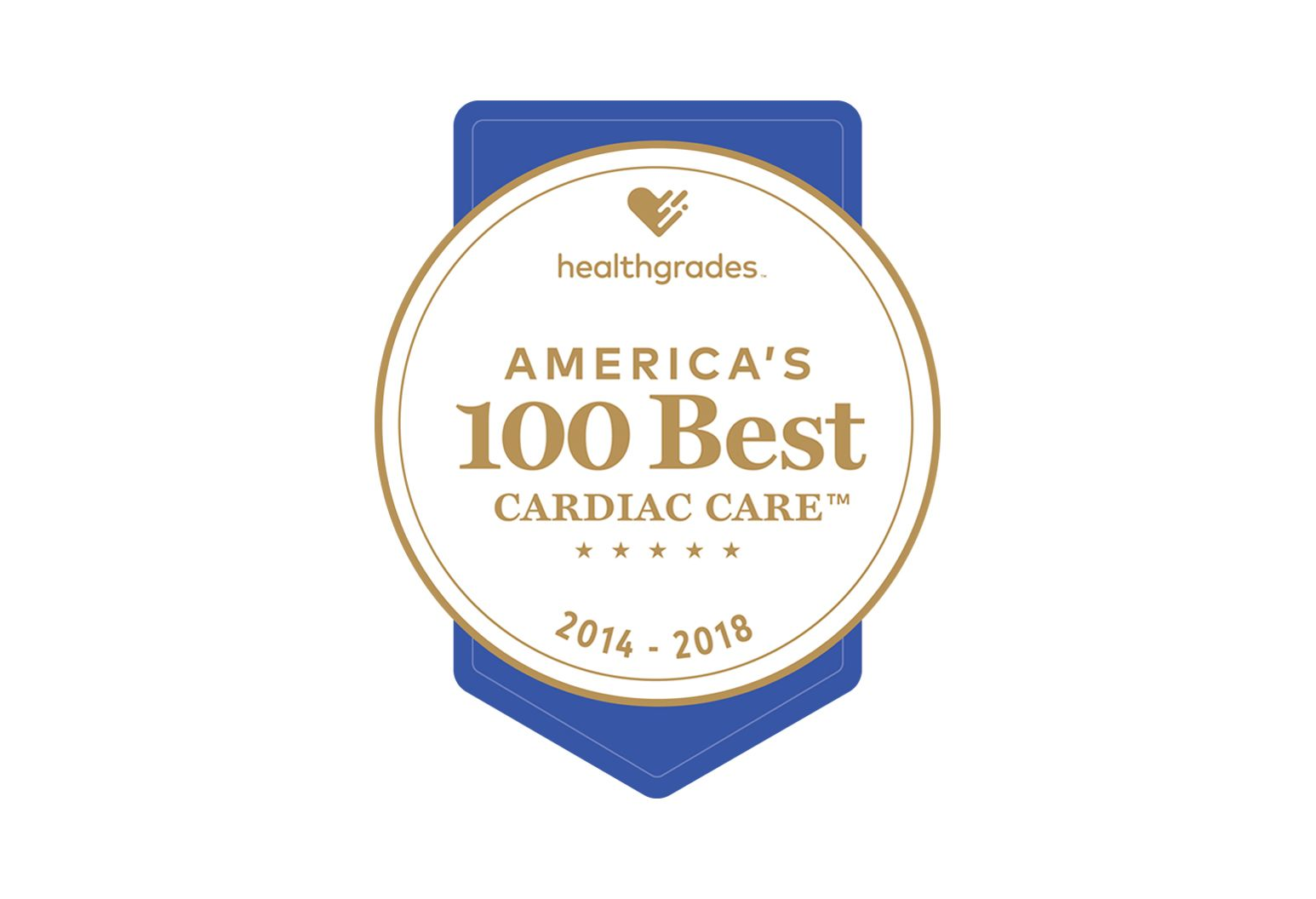 "A badge stating ""America's 100 best cardiac care. 2014 - 2018"""