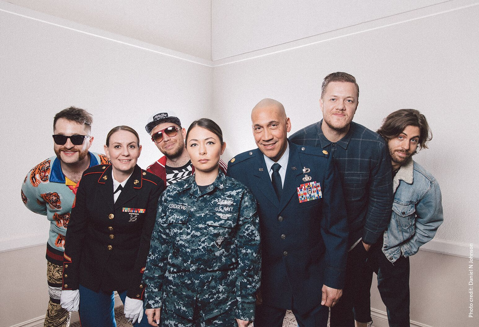 Imagine Dragons with military personnel