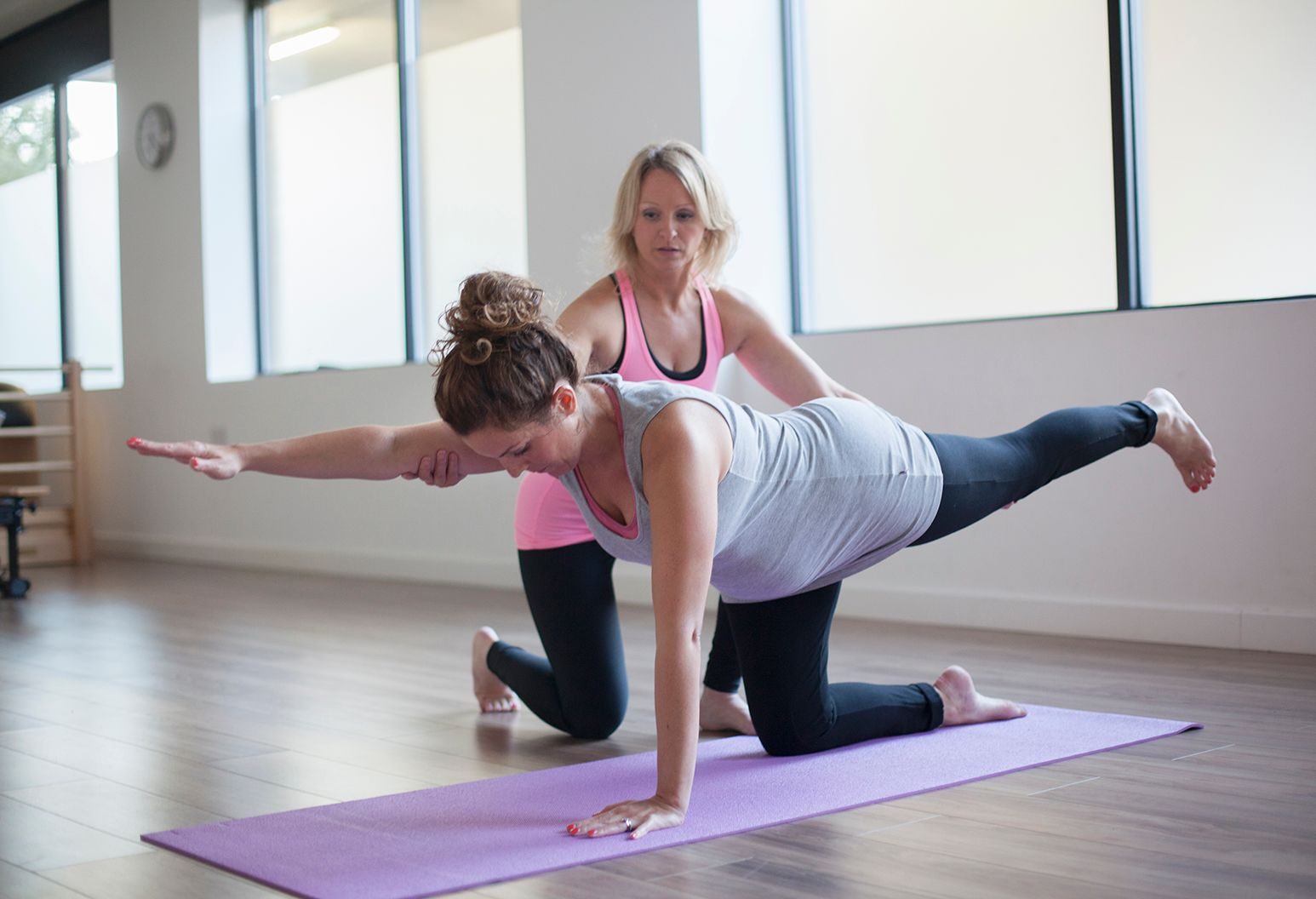 Physical benefits of yoga for women include increased flexibility, decreased depression, better strength and balance.
