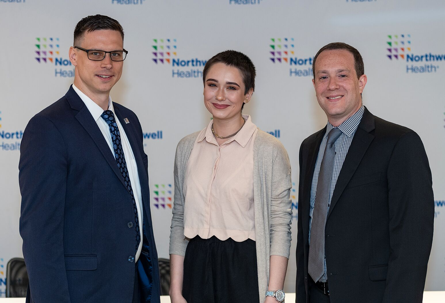 From left: Charles Taylor of Northwell's Office of Military and Veterans Liaison Services; Alyssa Harper, 18; and Dr. Mayer Bellehsen, Director of the United Behavioral Health Center in Bay Shore.