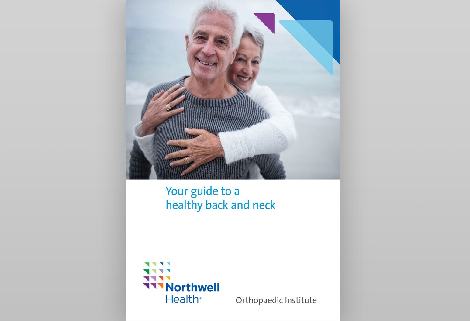 Two Northwell Health ebooks are displayed. One is a guide to a healthy back and neck with a photo of a couple smiling on the beach on the cover, and the other is behind it with a photo of a couple gardening together.
