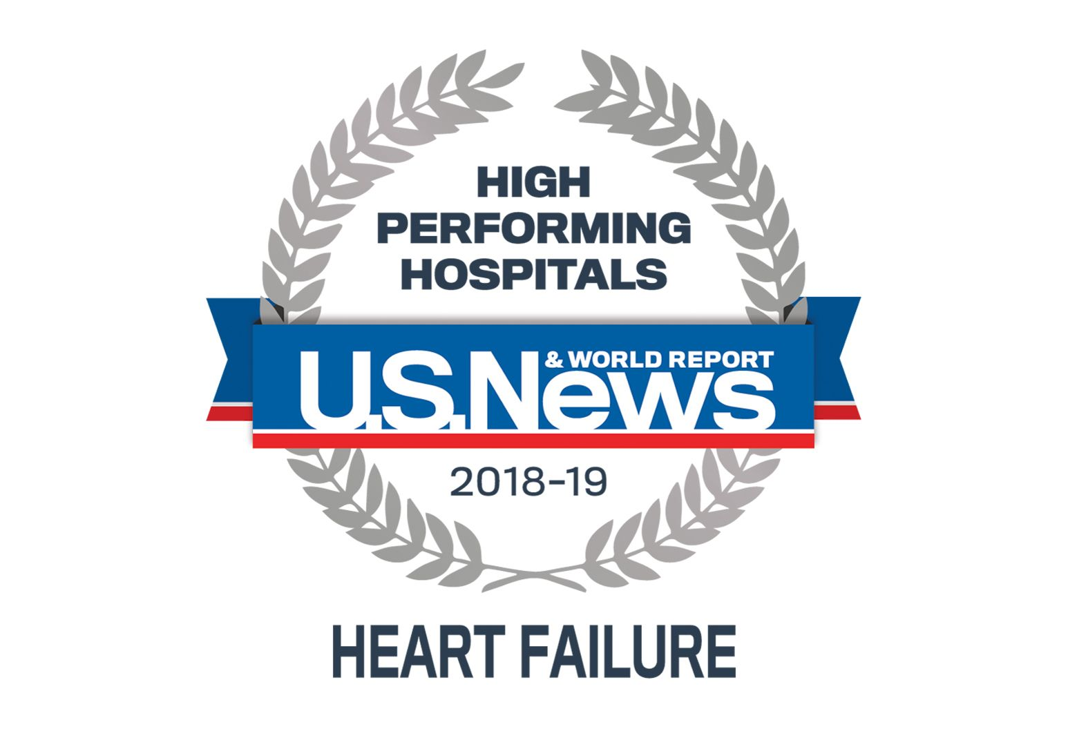 US News badge indicating high performing hospital in heart failure