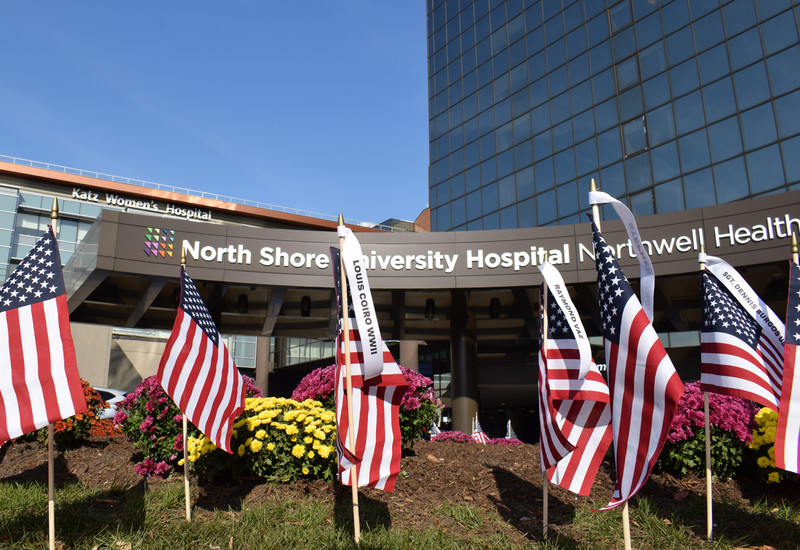 External shot of North Shore University Hospital with American flags. Was used in a news story about a 101-year-old vet for Veterans Day.