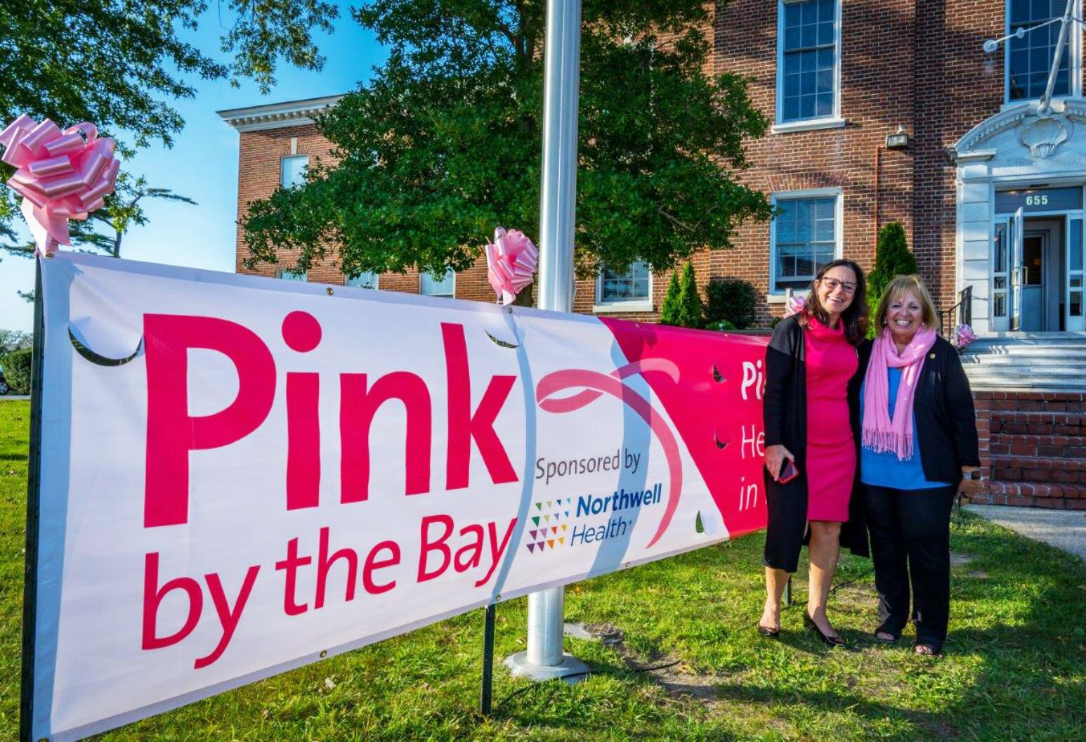 Southside Hospital Executive Director Donna Moravick, NP, with Town of Islip Supervisor Angie Carpenter commemorating Pink by the Bay.