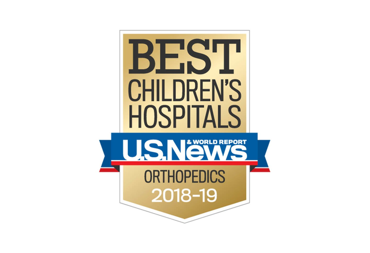 This is the U.S News & World Report emblem for superior pediatric care in orthopaedics for 2018 to 2019.