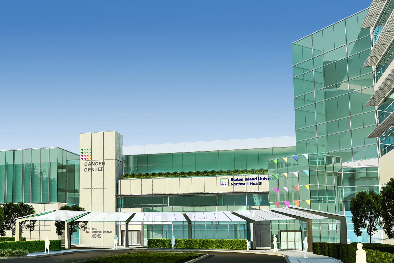 Rendering of Staten Island University Hospital's new state-of-the-art cancer center.
