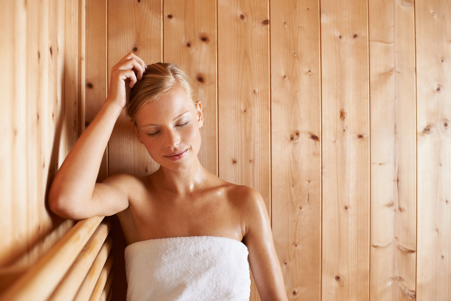 A woman in a sauna
