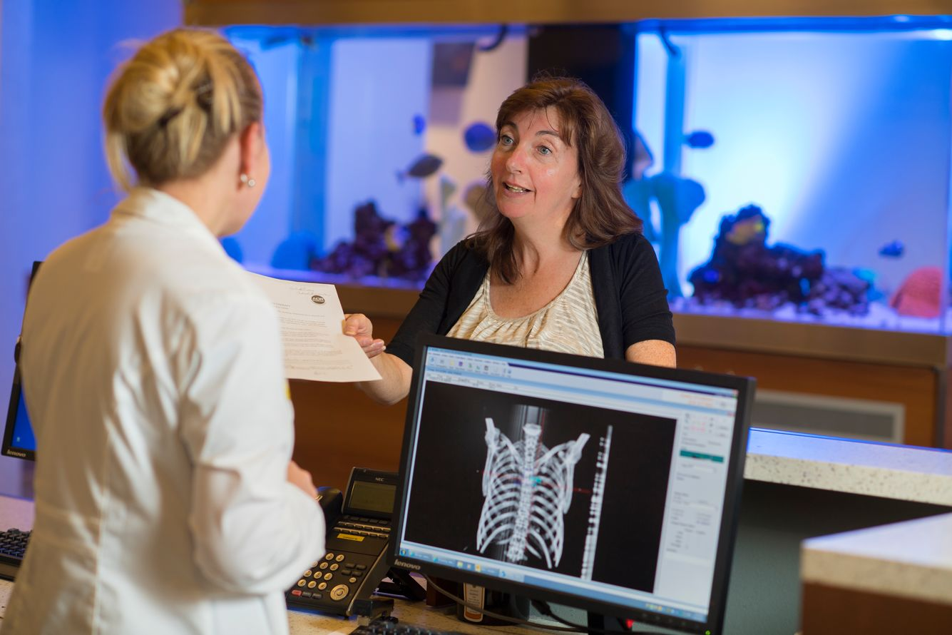 A patient checks in at Northwell's Department of Radiation Medicine at the Center for Advanced Medicine.