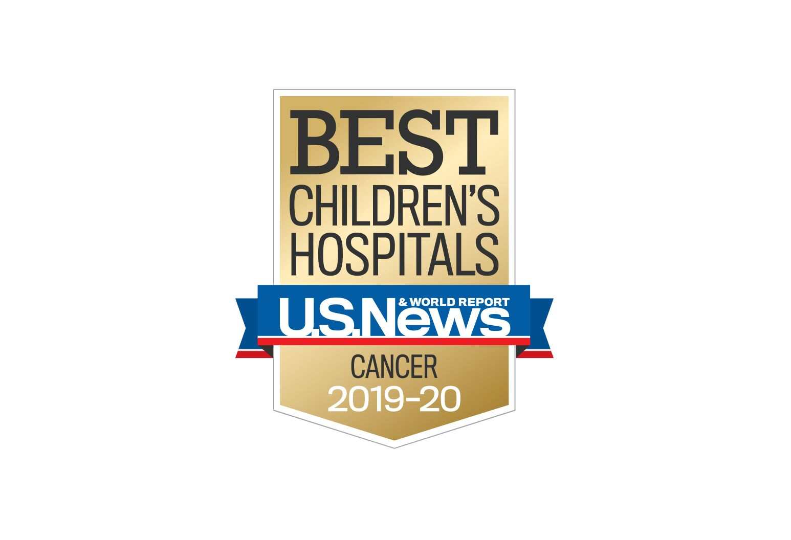 Logo saying voted best childrens hospitals, voted for by US News & World report
