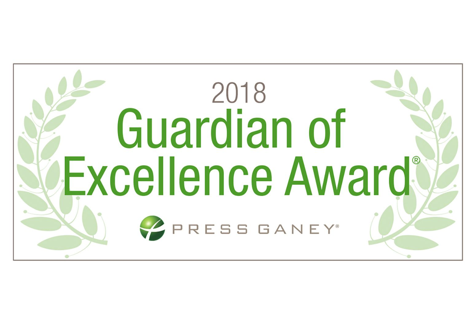 "A badge from Press Ganey stating ""Guardian of Excellence Award - 2018"""