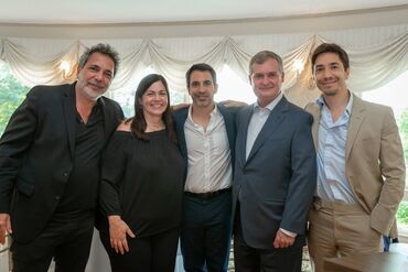 From left: Steven Messina, Marybeth Messina Seus, Chris Messina, Robert Kerr, MD, PhD and Justin Long.