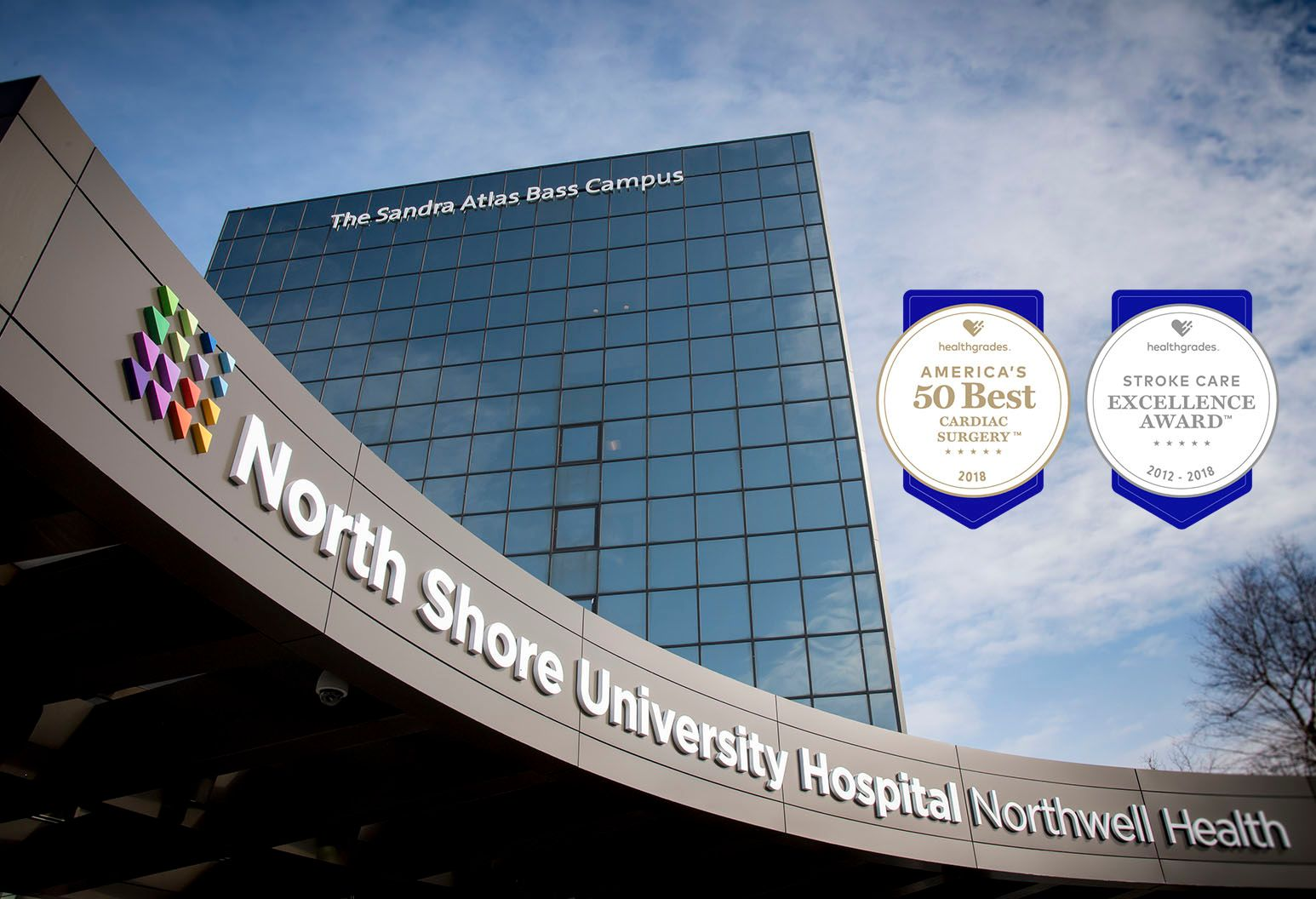 Exterior of North Shore University Hospital building with The Sandra Atlas Bass Campus building in the background