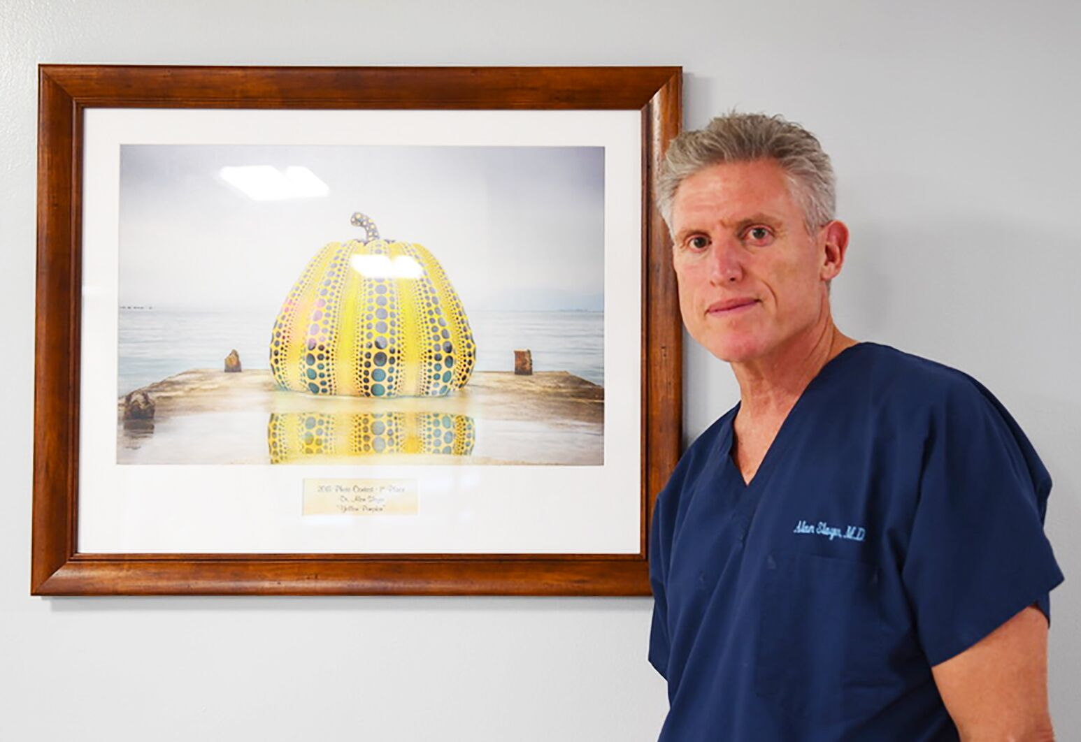 """Dr. Alan Sloyer's won the 2018 Auxiliary of North Shore University Hospital's annual photo contest with his entry """"Yellow Pumpkin."""""""