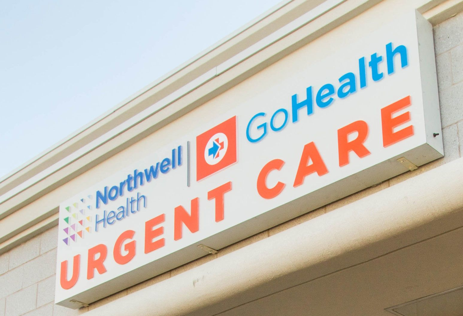 A beautiful exterior sign of Northwell Health Go Health Urgent care