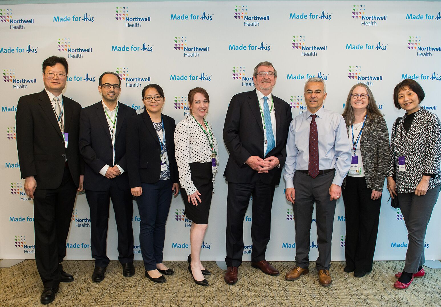 Fifth from left: Northwell Health President and CEO Michael Dowling with Yousef Al-Abed, PhD, vice president of molecular targets and director of The Institute of Bioelectronic Medicine, who is leading the research into peptides.