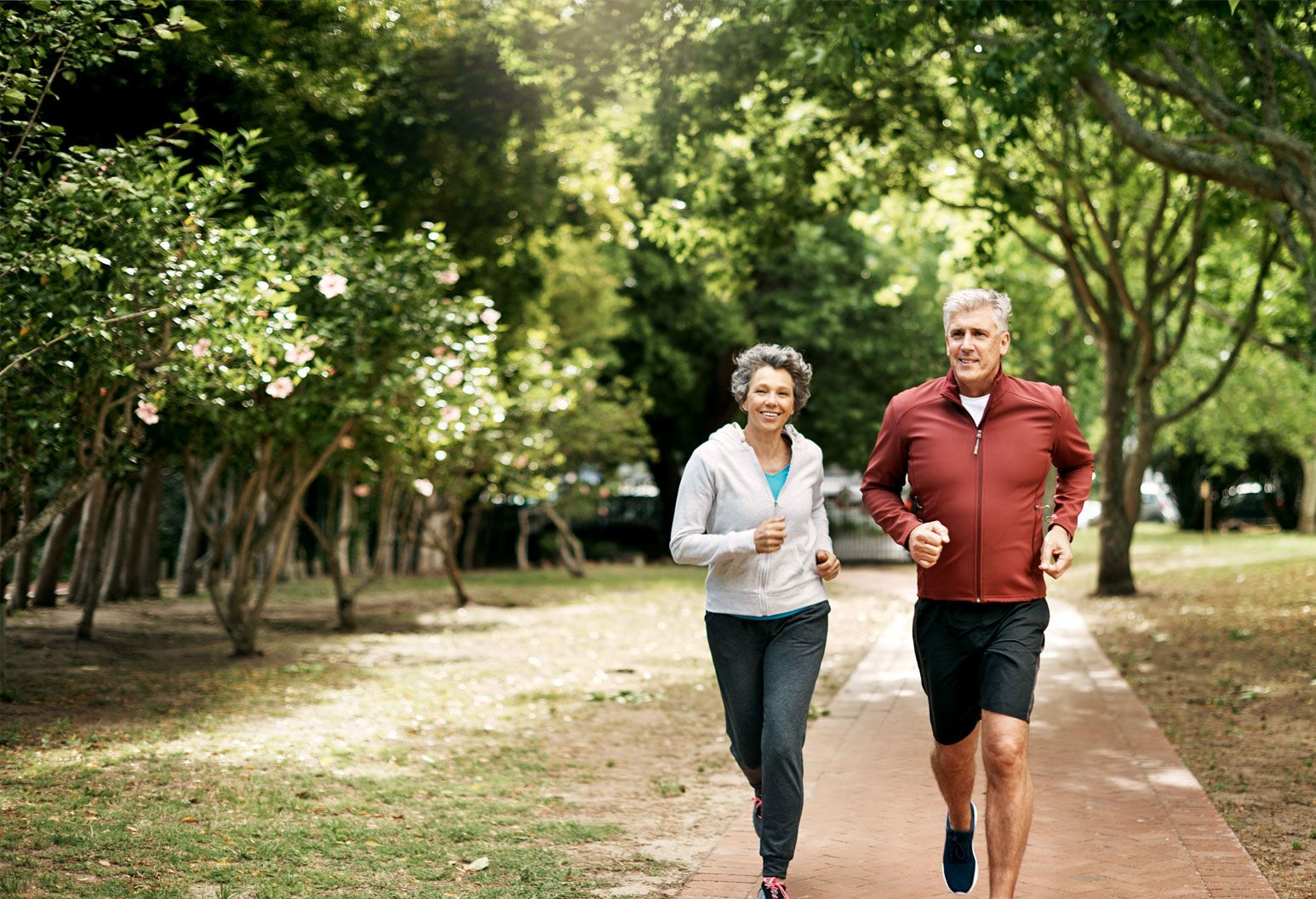an aged male and female are jogging side by side on a path in the woods on a sunny day.
