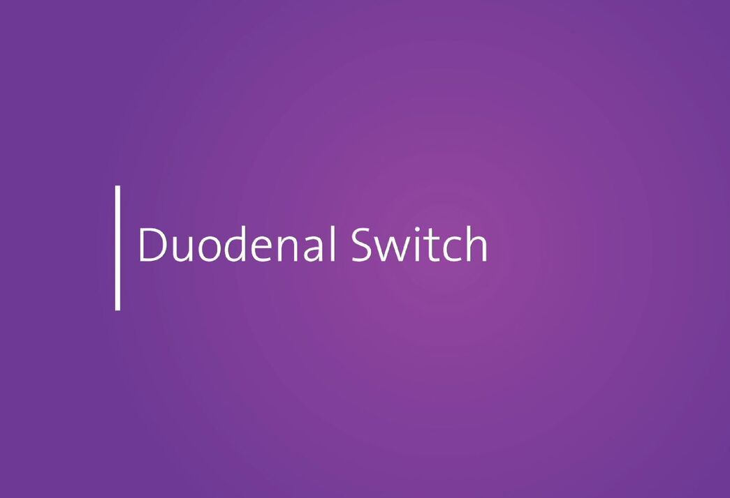 White letters on a purple background spell the words Duodenal Switch
