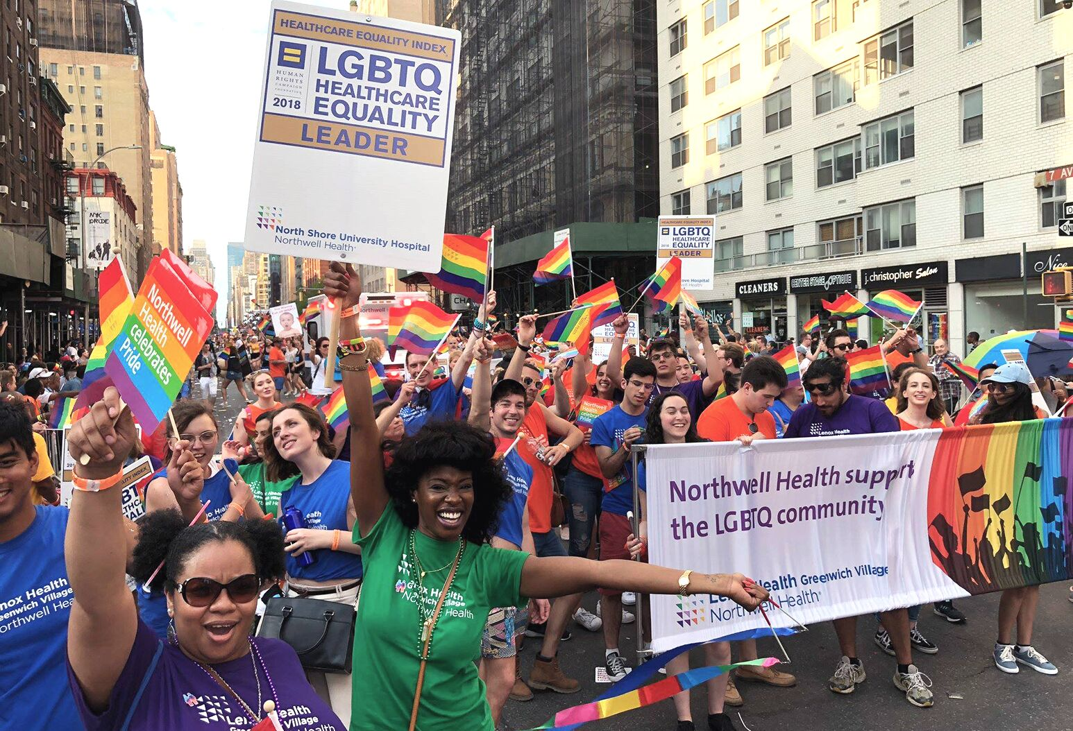 Northwell Health employees participate in the NYC Pride March.