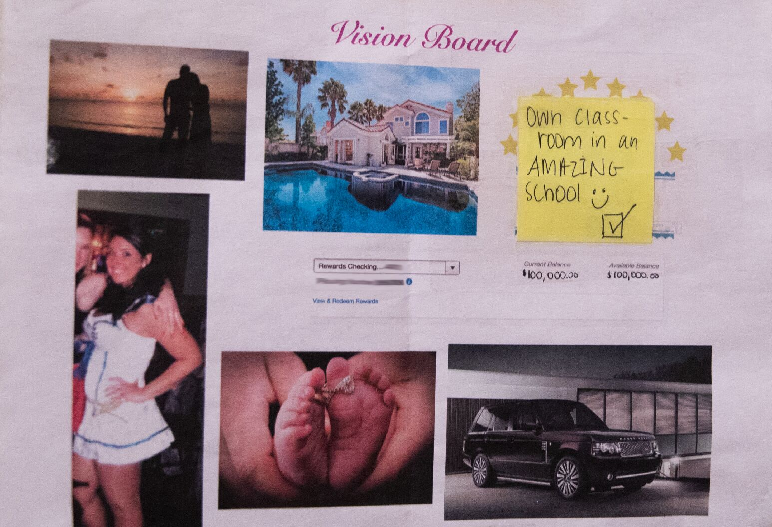 Vision board of goals and aspirations