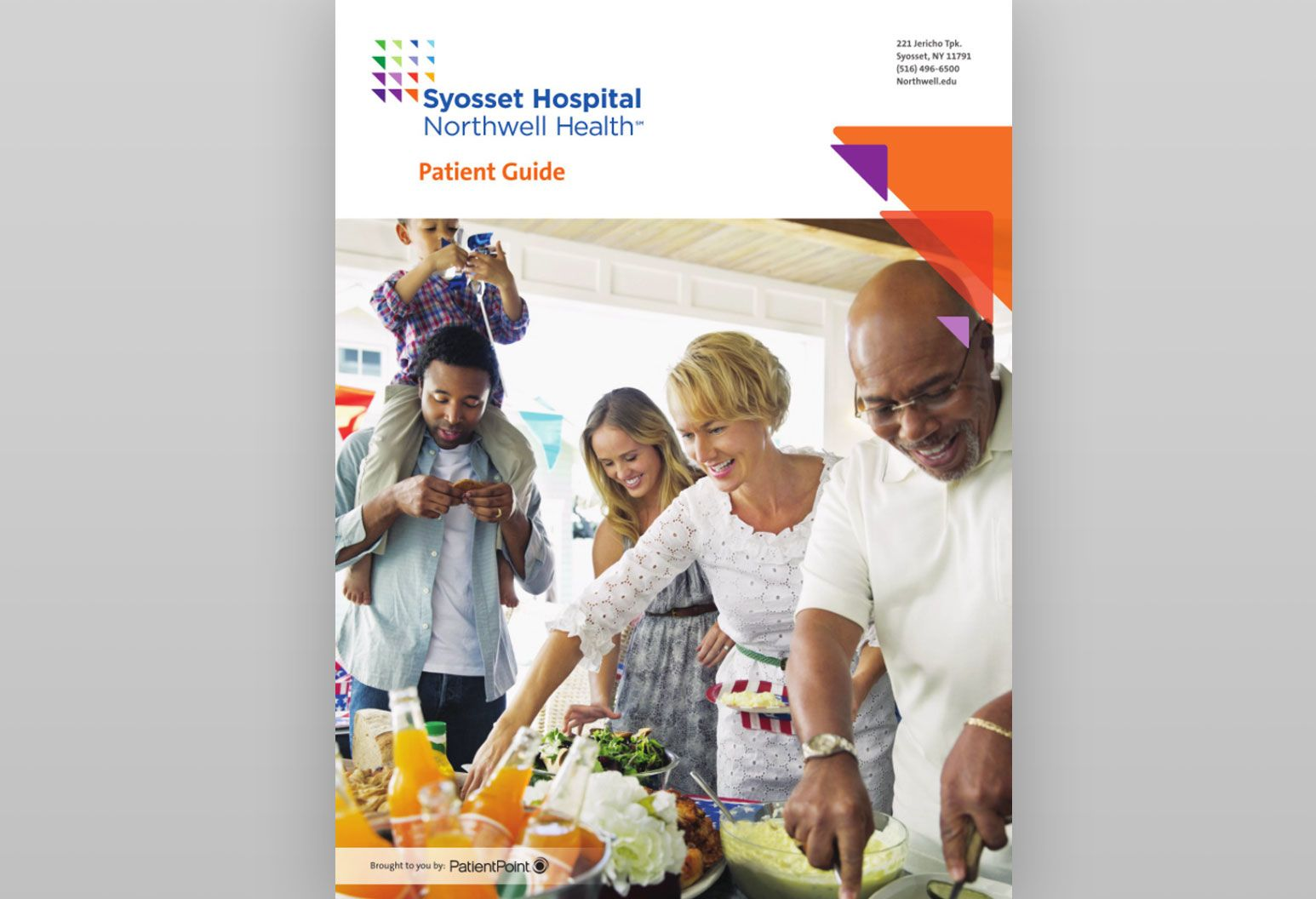 On the cover of a patient guide booklet for Syosset Hospital, there is a group of people at a party getting food and smiling.