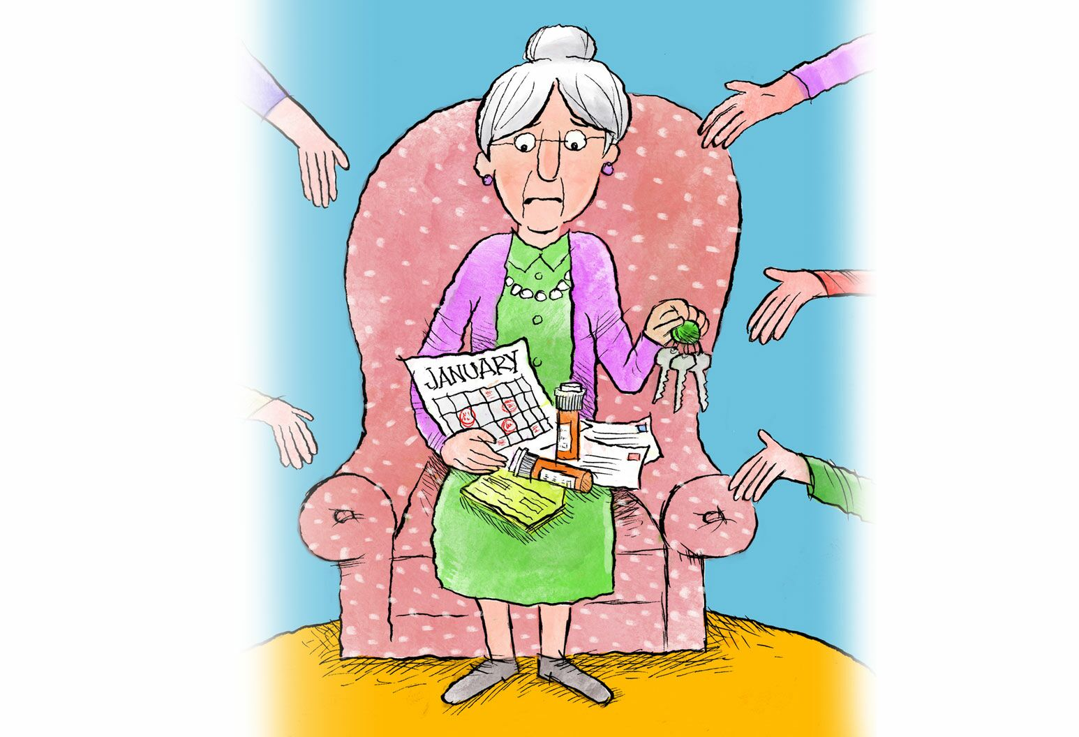 Illustration by Stacy Curtis - A cartoon drawing of a grey haired grandmother in a green dress and pink cardigan being handed pills, a calendar, and mail. There are hands reaching out to her from both sides.
