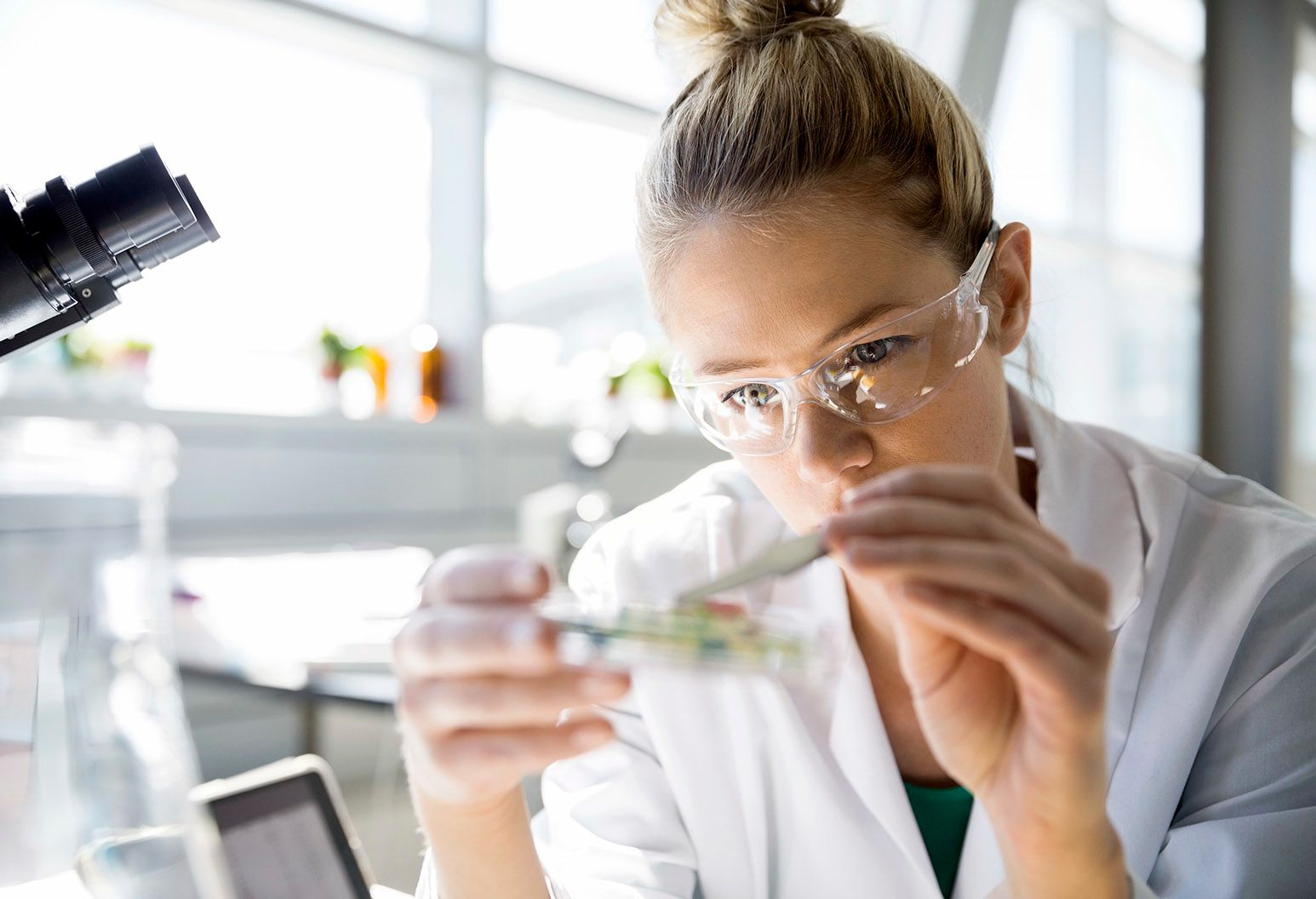 A female scientist with dirty blonde hair wearing a white lab coat and medical glasses examines contents in a dish