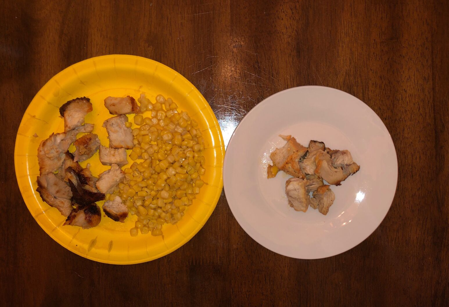 Kimberly's plate on the right, compared to the portion her brother will eat on the left.