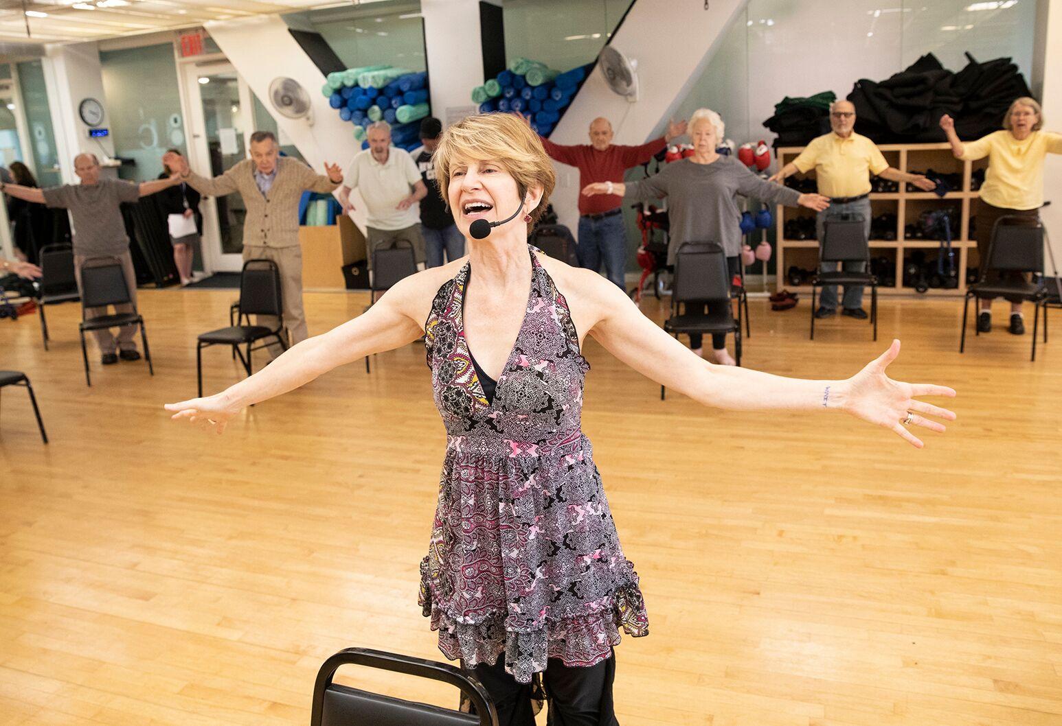 Community members participate in the Edmond J. Safra Parkinson's Wellness Program at the Marlene Meyerson JCC in Manhattan.